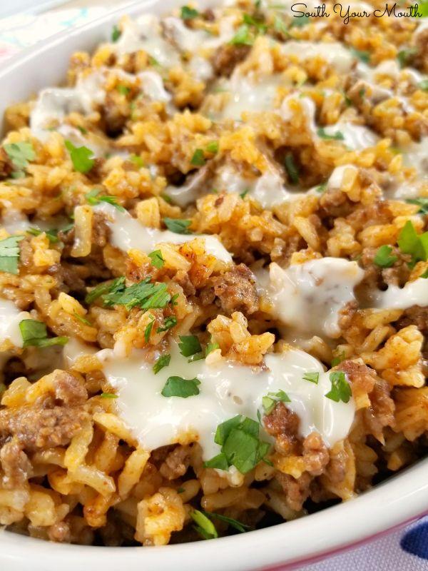 Taco Rice With Queso Recipe In 2020 Taco Rice Easy Casserole