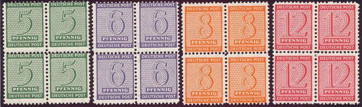 German Russian Occupation, SBZ 1945, Ziffern, Postmeisterzähnung Mügeln, Wz.Y, kompletter Satz in postfrischen Pracht-4er-Blocks, sehr selten (postfr., Mi.-Nr. 116-119 A Y, Mi.EUR 8.800,--+). Price Estimate (8/2016): 2.200 EUR.