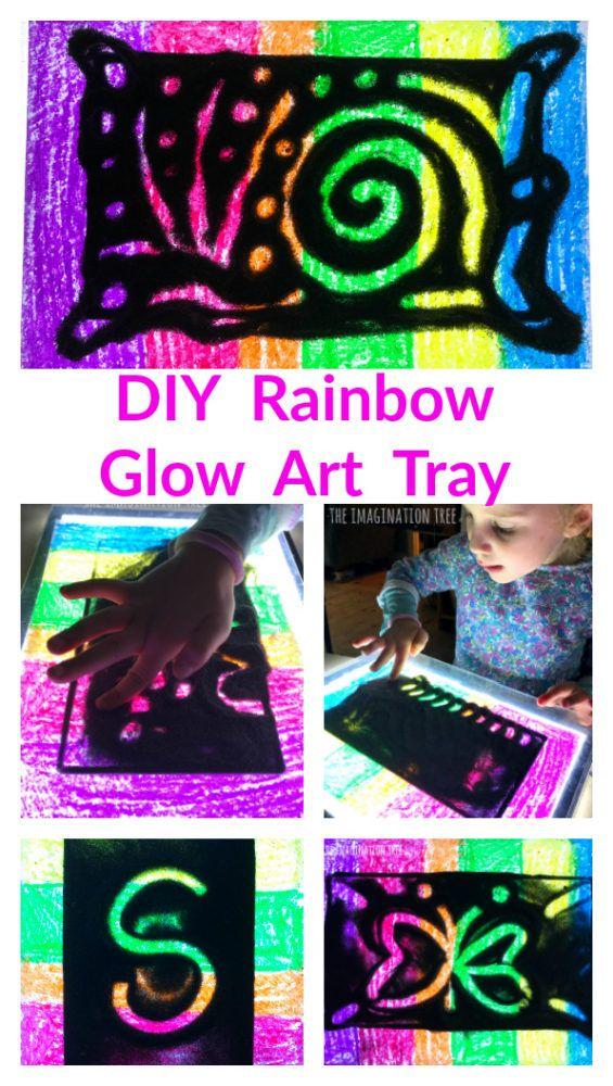 DIY Rainbow Glow Art Tray #kidscrafts #diy #glowart