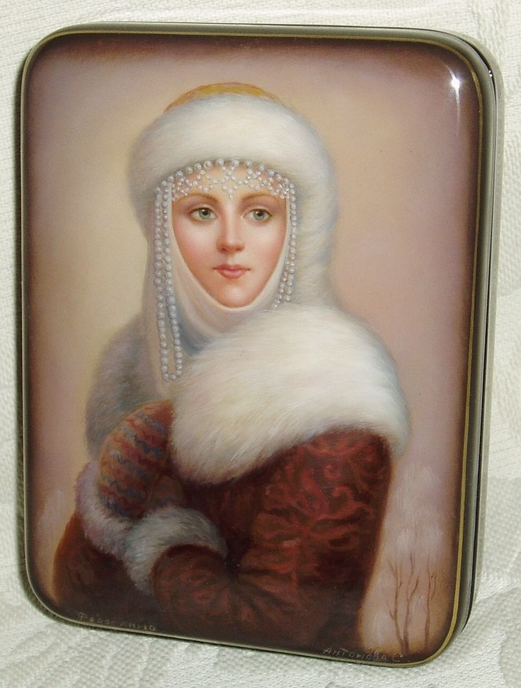 """Russian Lacquer Box Fedoskino """" Snow Maiden """" Miniature Hand Painted   eBay"""