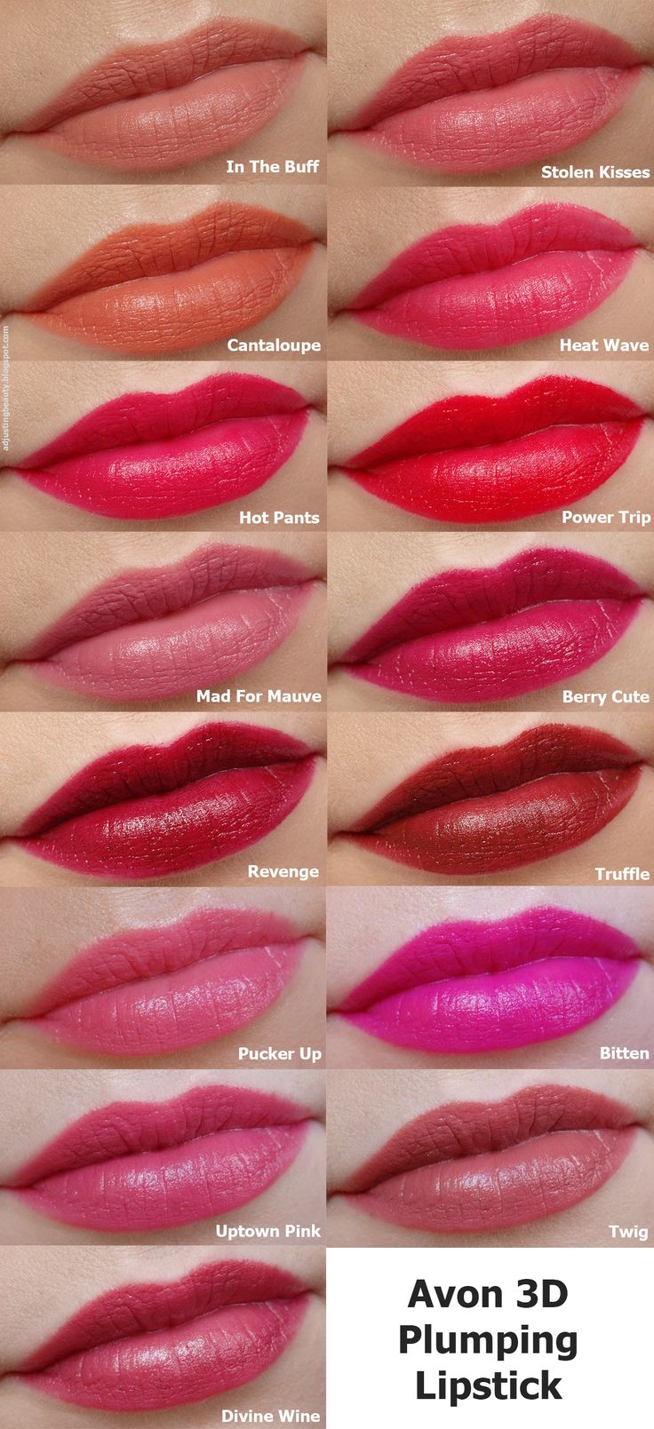 Review of Avon 3D Plumping lipsticks (Beyond Color lipsticks) all 15 shades: In The Buff, Stolen Kisses, Cantaloupe, Heat Wave, Hot Pants, Power Trip, Mad For Mauve, Berry Cute, Revenge, Truffle, Pucker Up, Bitten, Uptown Pink, Twig and Divine Wine.