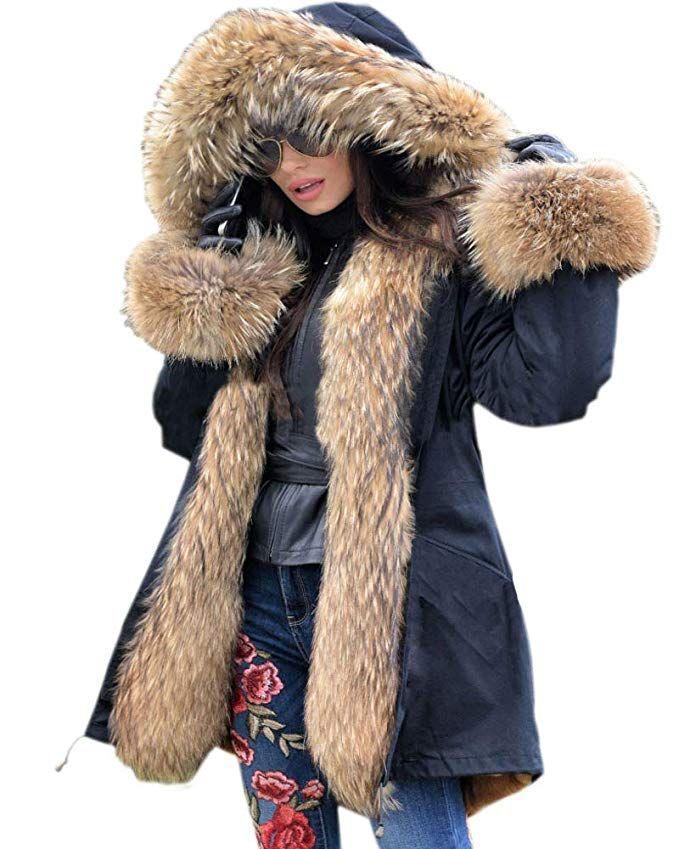 ac08de782ff Aox Women Hood Coat Faux Fur Thicken Lined Overcoat Winter Camo Plus Size  Jacket Snow Parka Outwear at Amazon Women s Coats Shop
