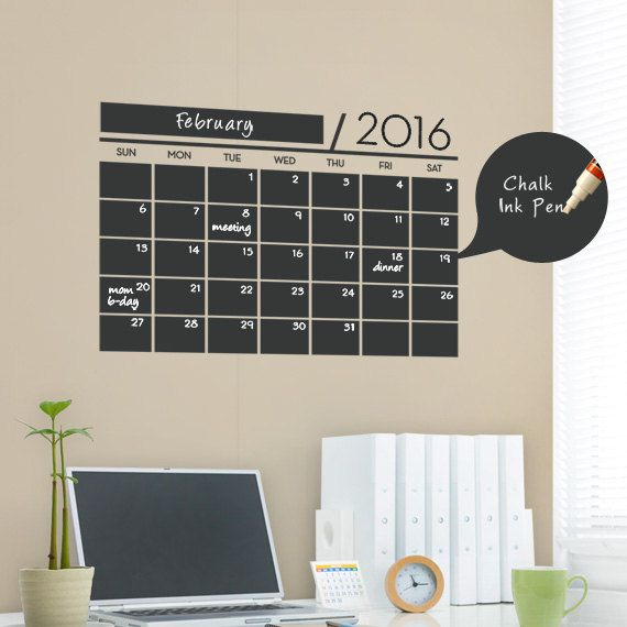 This calendar wall design incorporates a black chalkboard vinyl that you can write on with chalk or chalk ink pens. It is applied directly to the wall. (Chalk Ink pen not included.)  No more dirty hands, try our Chalk Ink Pens! Click here and add one to your order! http://www.etsy.com/listing/66244174/chalk-ink-chalkboard-marker-white-6mm  The main body of this decal comes pre-arranged on a transfer sheet for easy application. (you do not need to worry about spacing each piece)  View our…