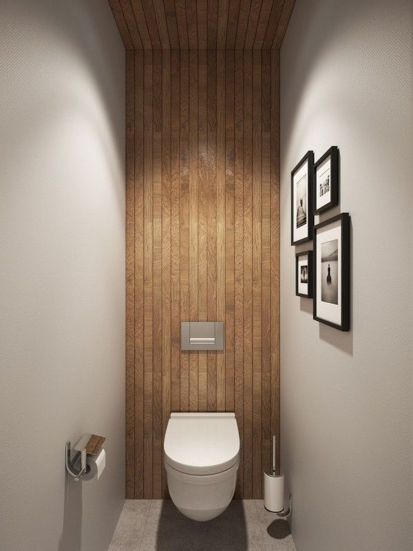 Small bathroom design idea with wooden accents #AlexMouldings, #PowderRoom More