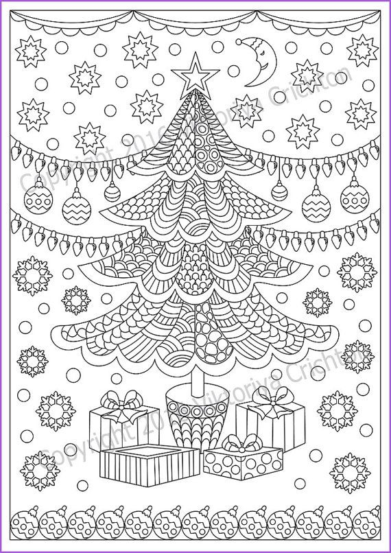 """Coloring page zentangle Winter """"Merry Christmas"""" for adult"""