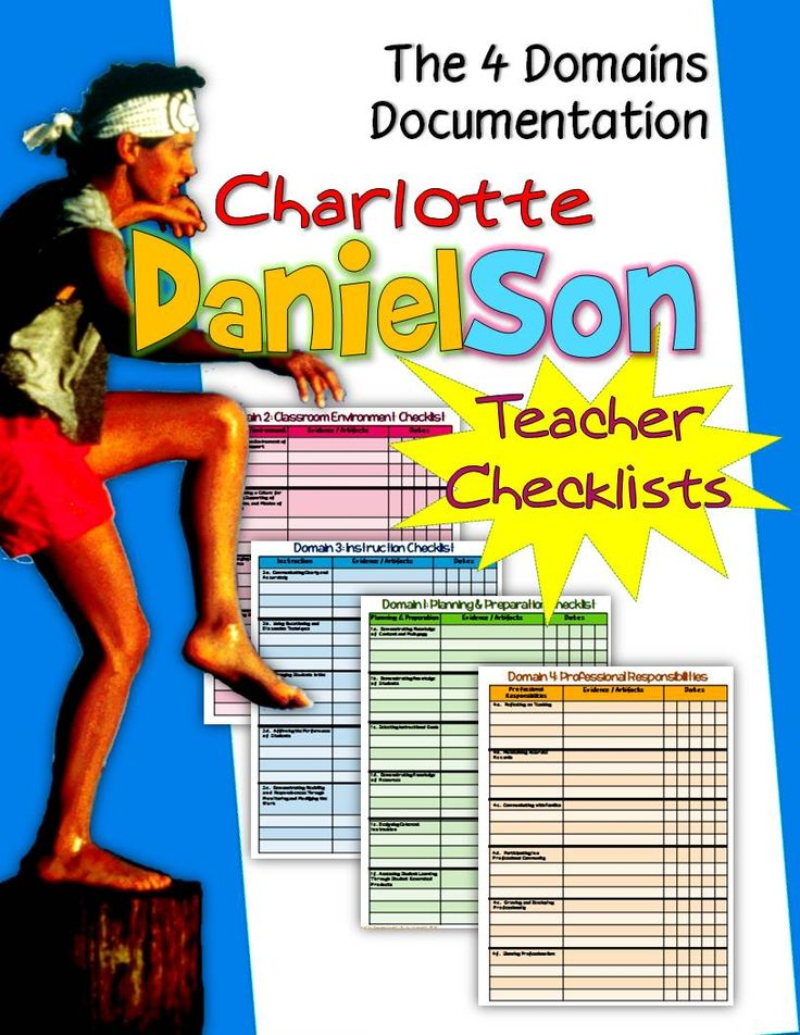 Charlotte Danielson Teacher Checklists: Documenting the Four Domains Includes: 4 pages -Danielson framework checklist for each of the 4 domains-Each domain's components are listed -For all grades, all subjects, and all levels. -Don't be without the imperative materials for this method of evaluation. -Keep it in your binder for lessons, professional development, professional improvement plans, professional growth, teacher portfolio, professional learning community, and for your evaluation.