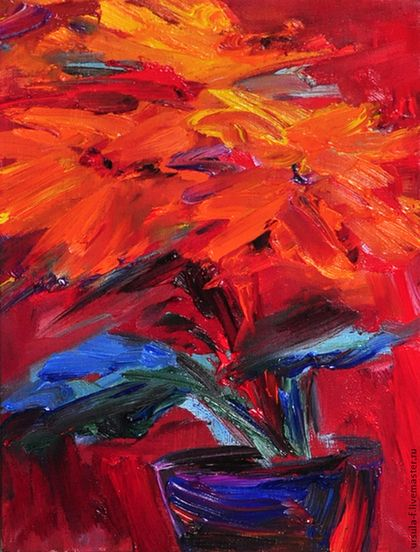 Оранжевые цветы, Картина маслом. - оранжевый,красный,картина,картина в подарок
