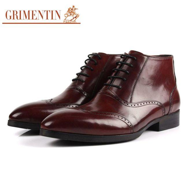 Grimentinブランド英国ファッション本物の男性レザーブーツ黒彫つま先レースアップウェディング男性アンクルブーツ用男性靴