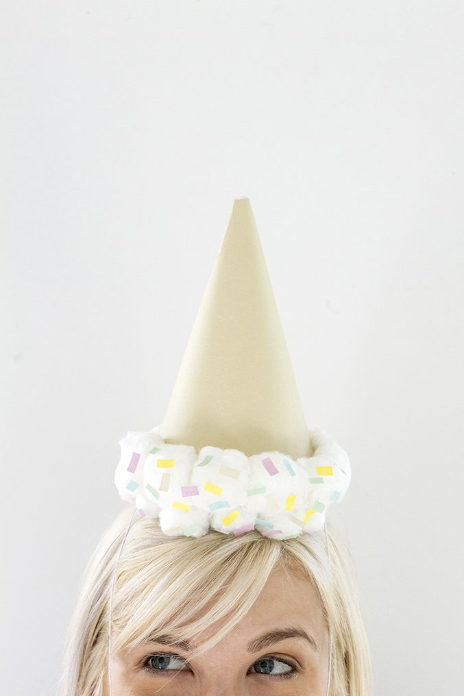 DIY Upside Down Ice Cream Cone Party Hat - the cutest!