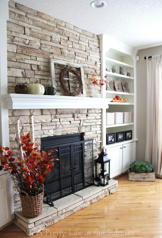 Love the mantel over the stone!