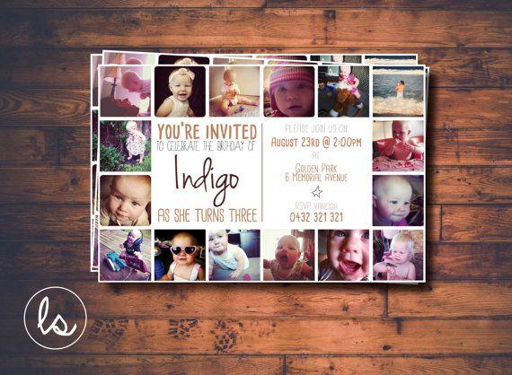 DIY PRINTABLE ~ Third Birthday Invitation ~ Photo Invitation ~ Photo Collage ~ Birthday Invitation ~ Printed Invitations