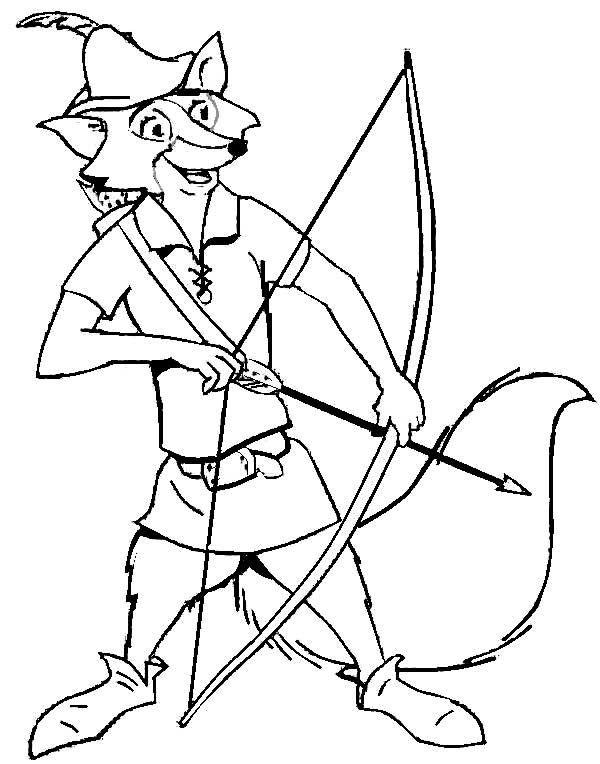 Desenhos para colorir do desenho animado da Disney Robin Hood com seus principais personagens.