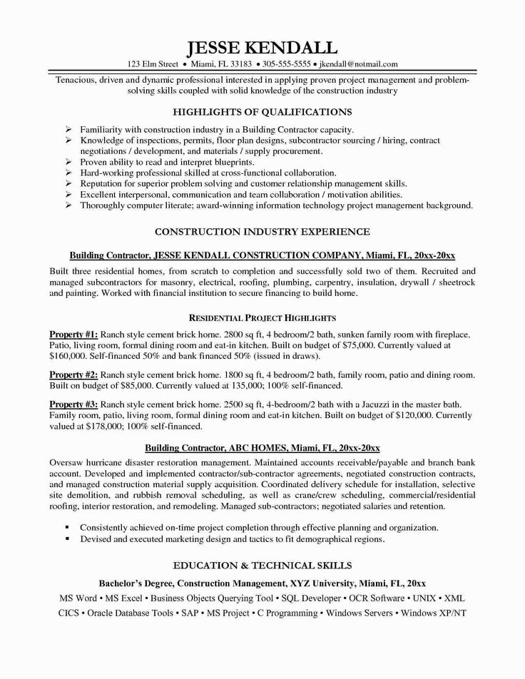 Self Employed Contractor Resume New 9 General Contractor