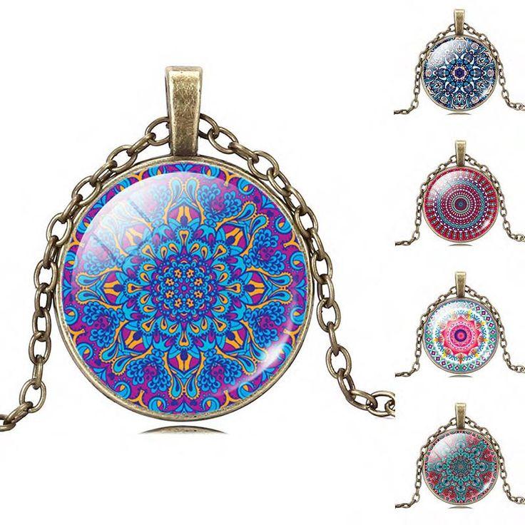 Buddhism Jewelry OM Symbol India Mandala Flower of Necklace Zen Picture Glass Cabochon Pendant Choker Glass Necklace Jewelry(China (Mainland))