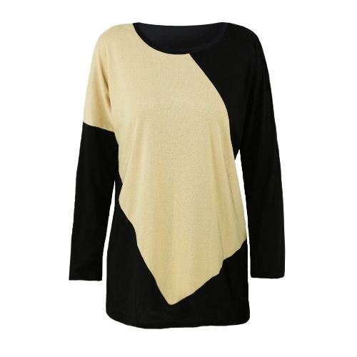 Christmas Women Casual Color Block Patchwork Batwing Sleeve Loose Top