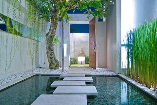 Villa entrance water feature bali style home garden Home water features