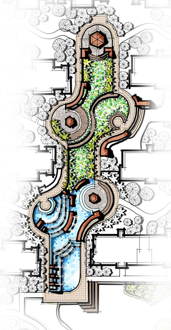 cascading water feature, central landscape, pavilion, flower garden, landscape master plan, water fountain