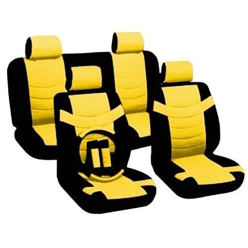 Unique Leather Black & Yellow Seat Covers Headrests Steering For Chevy Cobalt (Color)