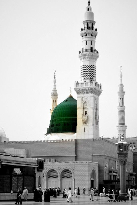DesertRose,,,Black and White Shot of Masjid an-Nabawi with Selective Coloring of the Dome