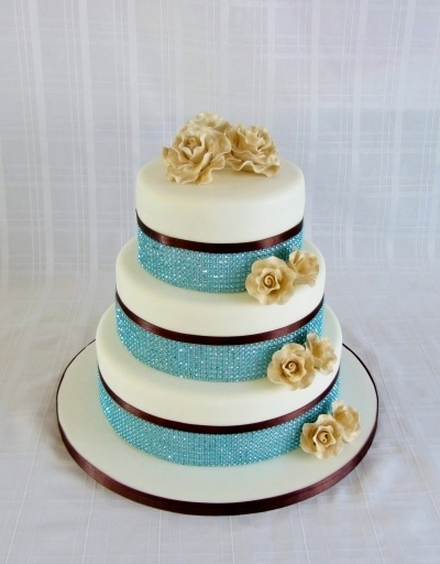 Teal wedding cake By rearly on CakeCentral.com