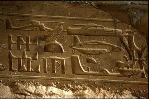 These actual Egyptian Hieroglyphics show what appear to be images of a helicopter, submarine, boat, and jet airplane. Many believe this is proof that aliens once visited the ancient Egyptians, arriving in their advanced technology and leaving behind quit an interesting story for our ancestors to tell.