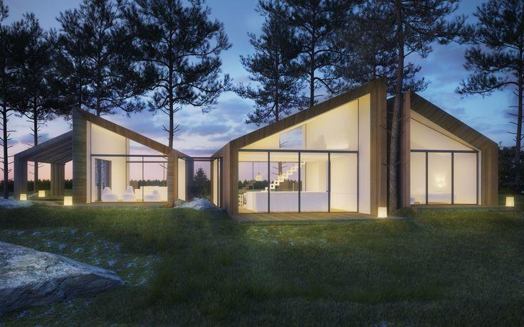JOARC I ARCHITECTS • Holiday Villas • scandinavian architecture, 3D render, summerhouse, finland