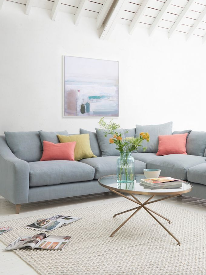 Loaf's deep and comfy even-sided Oscar corner sofa in Sea Salt vintage linen with muted scatter cushions in this cosy living room