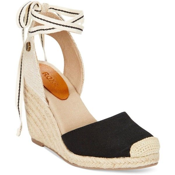Roxy Bolsa Chicka Tie-Up Espadrille Wedges found on Polyvore featuring shoes, sandals, black, black sandals, ankle wrap sandals, ankle tie sandals, black wedge espadrilles and ankle strap wedge sandals