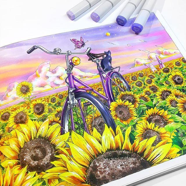 WEBSTA @ vika.mineeva - ✏️ Если вы считаете, что раскраска — это развлечение для тех, кто не умеет рисовать, то вы ошибаетесь! Раскраска может стать хорошим испытанием даже для опытного иллюстратора! Вот, например, раскраска «Вокруг света на велосипеде», выпущенная издательством @mifbooks @miftvorchestvo оказалась непростым, но очень интересным лабиринтом! Обилие деталей может завести в тупик непростую работу с цветом, но мне очень нужна была именно эта жёлто-розовая гамма. Давно хотела её…
