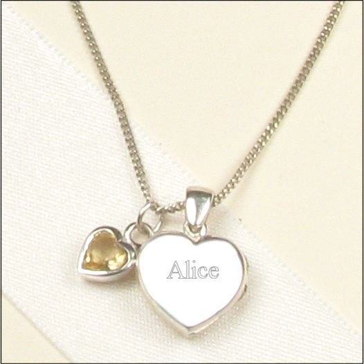 Elinor Rose Sterling Silver Locket & November Birthstone Necklace for Confirmations & First Communion