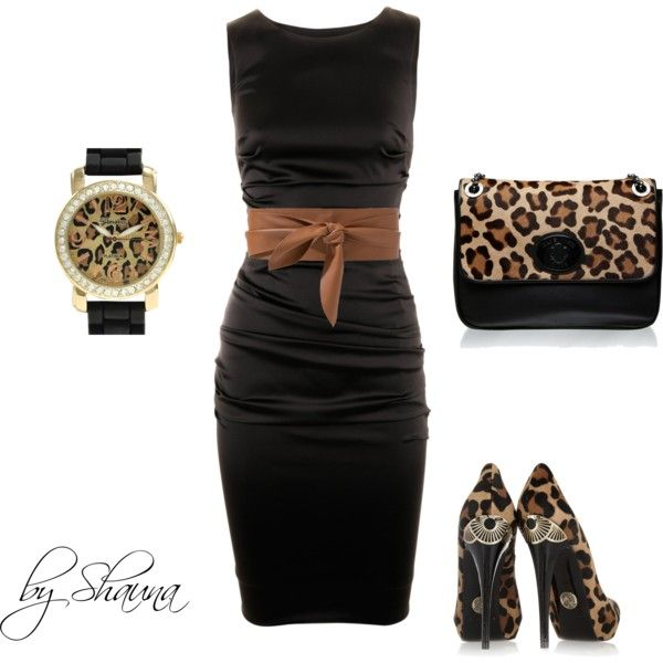 Dolce and Gabbana dress with minimal leopard accessories, created by shauna-rogers on Polyvore