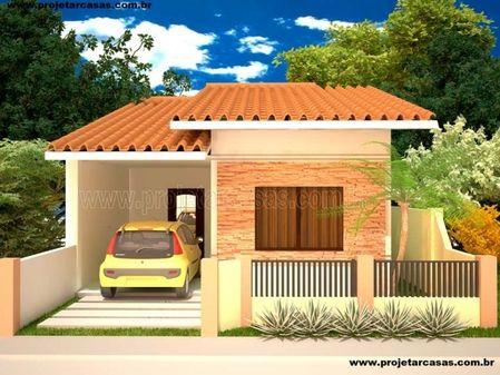Projetar Casas   Casa térrea com garagem, 1 quartos e 1 suíte e jardim de inverno - Cód 30