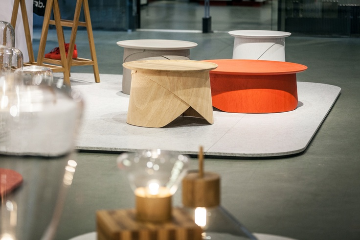 WRAP tables by Lucie Koldova launched at GLASS MEETS WOOD, MOST Salone 2013, Milan    www.lugi.cz