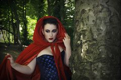 Sister Of Sinister (C-Imagery) Tags: red portrait girl beauty nikon sister sinister gothic riding corset hood cloak alternative purpleport