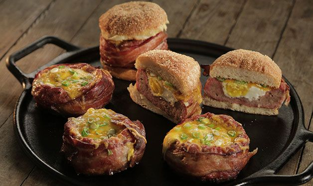 This variation on beer-can burgers is perfect for breakfast: use pork sausage instead of ground beef, fill with an egg and serve on English muffin or bagel.