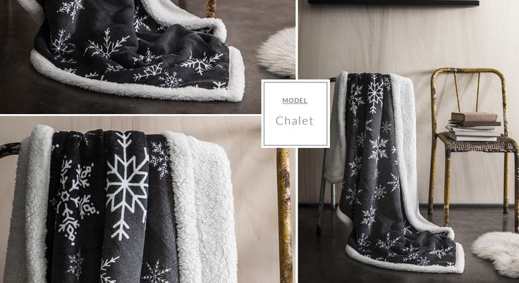 Ciepły francuski koc biało czarny w śnieżynki
