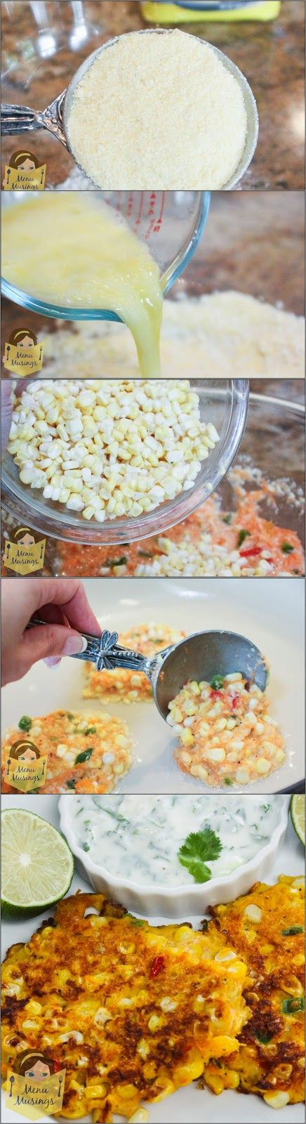 Corn Cakes with Cilantro Lime Cream - for all those sweet ears of fresh summer corn in the markets! A step-by-step photo tutorial. :)