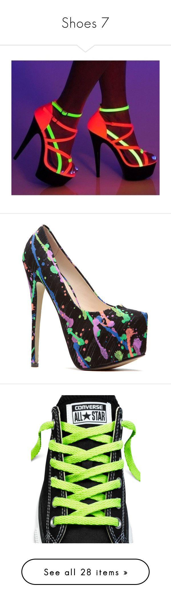 """""""Shoes 7"""" by katmccreery on Polyvore featuring shoes, neon, neon high heel shoes, neon shoes, fluorescent shoes, strappy high heel shoes, strappy shoes, pumps, heels and black almond toe pumps"""