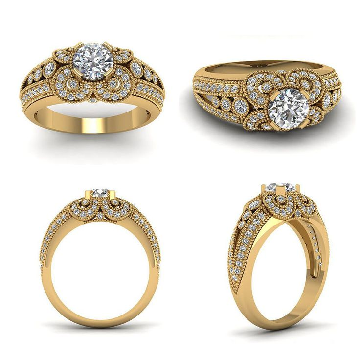 14K Yellow Gp 925 Silver RD Sim. Diamond Solitaire with Accents Engagement Ring #br925 #SolitairewithAccents