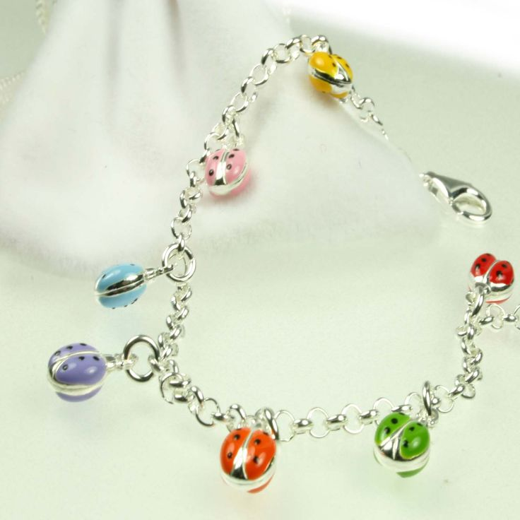 Multi Coloured Ladybird Childrens Silver Bracelet #christening #kids #jewellery