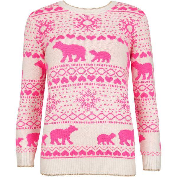 Ted Baker MEDON Polar bear Fair Isle sweater found on Polyvore