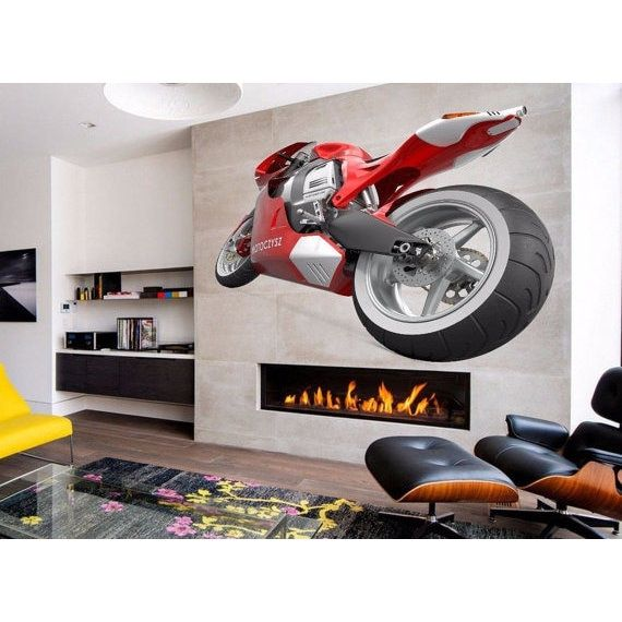 Full Color Bike Full Color Decal, Chopper Full color sticker, Crotch Rocket wall art Sticker Decal size 22x26