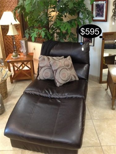 Rustic and contemporary bonded leather chaise lounge in a deep chocolate color.    Yesterdays Treasures Consignment  5829 Lone Tree Way Suite J  Antioch, CA 94531  925.516.8549  www.Yesterdayststore.com  Info@yesterdayststore.com
