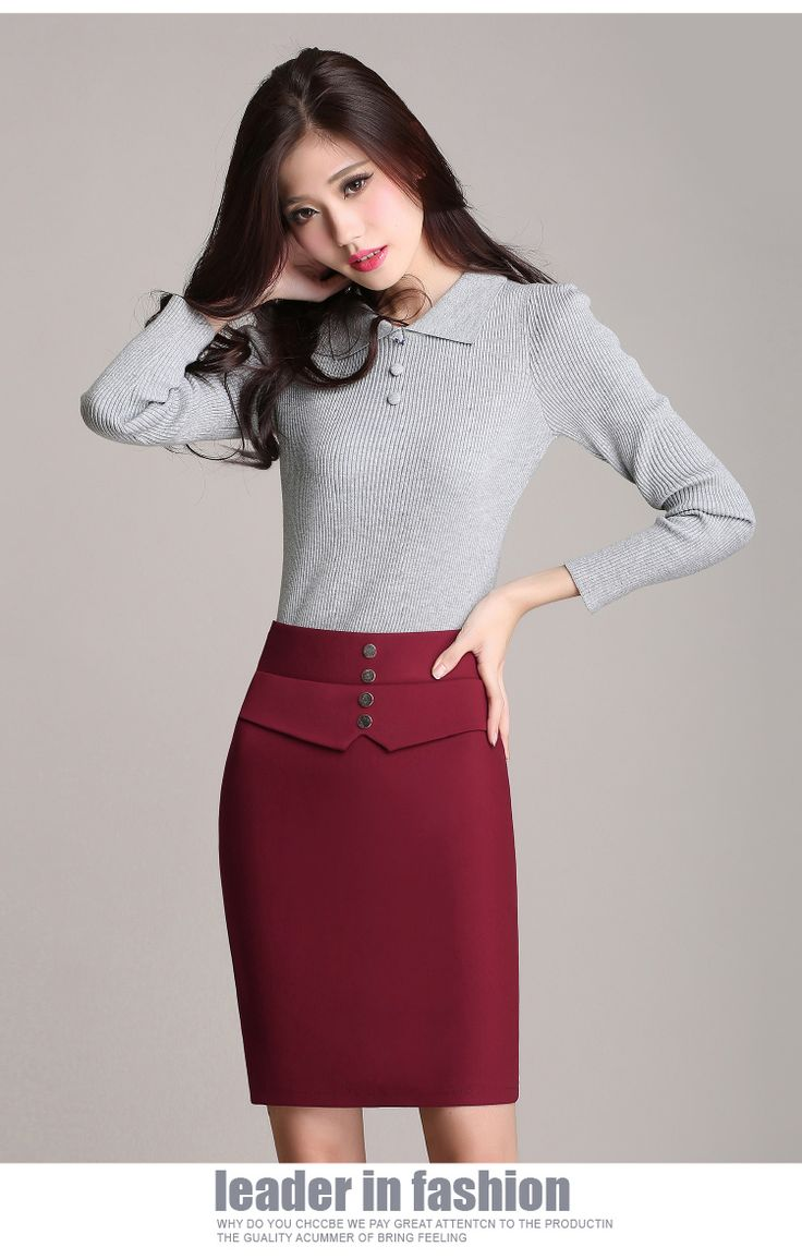 High Waist Pencil Skirt 2015 Spring Autumn Solid Formal Skirts Womens Elegant OL…