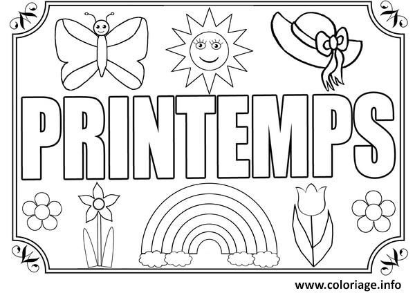 Coloriage On Aime Le Printemps A Imprimer Coloriage Printemps Coloriage Printemps Maternelle Coloriage