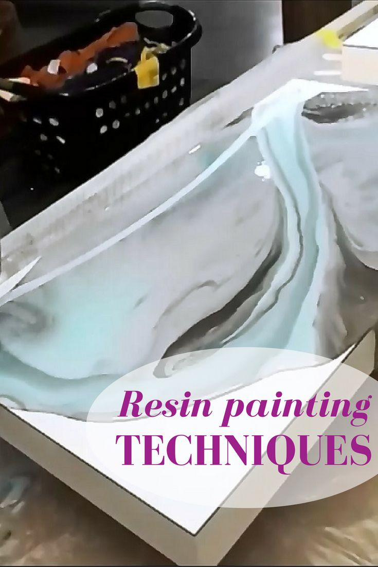 Resin painting techniques.  Learn how to use several colors to 'dirty pour' resin.