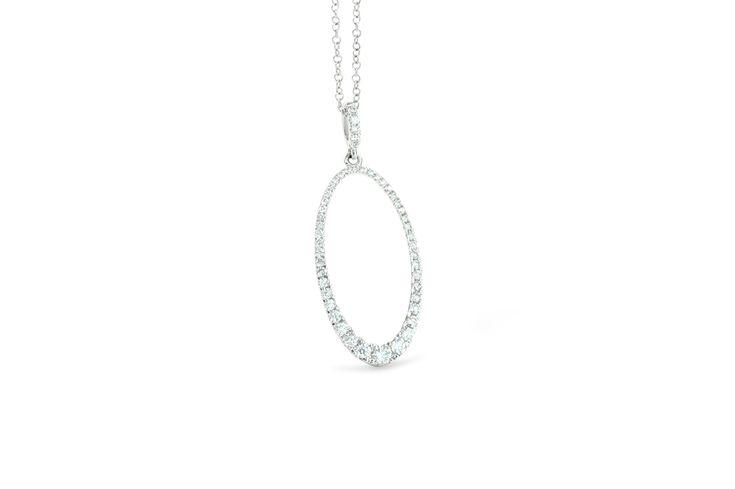 18 ct white gold pavé set white diamond oval shaped necklace