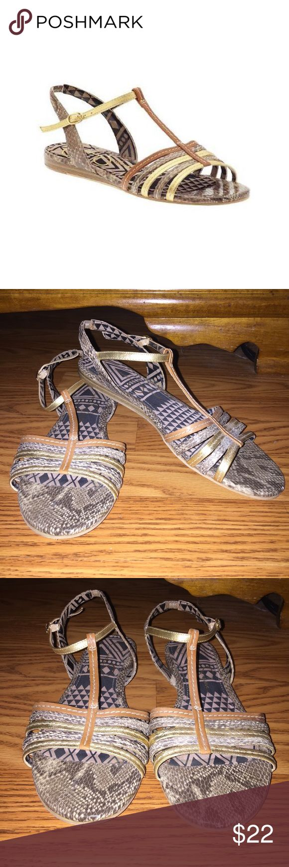 """Jessica Simpson Flat Strappy Sandals 🌼Multicolor metallic snakeskin, Leather upper                                                                                     🌼Great used condition, only worn a few times                                                          *Please ask any questions you may have before purchasing* 10% OFF 2+ ITEMS - USE THE """"ADD TO BUNDLE"""" FEATURE !!! Jessica Simpson Shoes Sandals"""