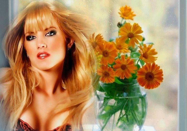 Κινούμενα σχέδια κορίτσι με τα ξανθά μακριά μαλλιά, μπλε μάτια στο πλαίσιο της μπουκέτο με πορτοκαλί κατιφέδες, SIFCO κορίτσι με τα ξανθά μακριά μαλλιά, μπλε μάτια στο πλαίσιο της μπουκέτο με πορτοκαλί κατιφέδες