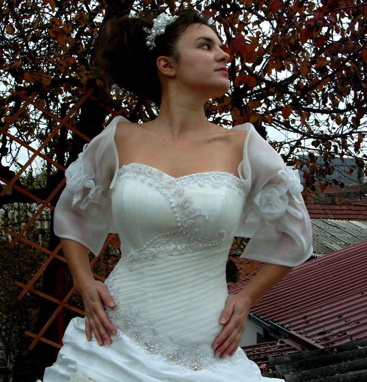 Wedding Elegant Bridal Shrug Shiny Organza Bridal Bolero 3/4 Sleeves ...